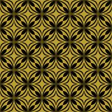 Black on gold geometric tile oval and circle seamless repeat pattern background. Two colour geometric tile oval and circle seamless repeat pattern background Stock Photos