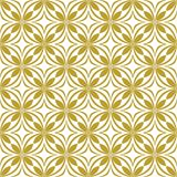 Gold on white geometric tile oval and circle seamless repeat pattern background. Two colour geometric tile oval and circle seamless repeat pattern background Stock Images