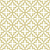 Gold on white geometric tile thorn circle seamless repeat pattern background. Two colour geometric tile thorn circle seamless repeat pattern background. Could be Stock Photo