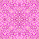 Magenta on pink hand drawn wavy line tile in a circle seamless repeat pattern background stock illustration