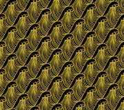 Gold on black Hokusai Japanese geometric wave pattern seamless repeat background. Two colour Hokusai Japanese geometric wave pattern seamless repeat background Stock Photos