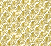 Gold on white Hokusai Japanese geometric wave pattern seamless repeat background. Two colour Hokusai Japanese geometric wave pattern seamless repeat background Stock Photography