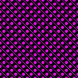 Magenta on black line and polka dots in lines seamless repeat pattern background Stock Photo