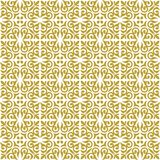 Gold on white ornamental scroll seamless repeat pattern background. Two colour ornamental scroll with dagger fleur de lis seamless repeat pattern background Stock Photos