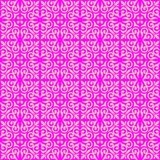 Pink on magenta ornamental scroll seamless repeat pattern background. Two colour ornamental scroll with dagger fleur de lis seamless repeat pattern background Stock Photo