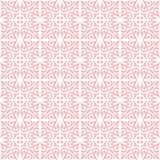Pink on white ornamental scroll seamless repeat pattern background. Two colour ornamental scroll with dagger fleur de lis seamless repeat pattern background Stock Photo