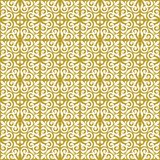 White on gold ornamental scroll seamless repeat pattern background. Two colour ornamental scroll with dagger fleur de lis seamless repeat pattern background Stock Photo