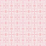 White on pink ornamental scroll seamless repeat pattern background. Two colour ornamental scroll with dagger fleur de lis seamless repeat pattern background Stock Photos
