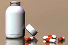 Two colour pills Stock Photos