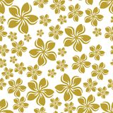 Gold frangipani flower on white seamless repeat pattern background. Two colour random frangipani flower seamless repeat pattern background. Could be used for Royalty Free Stock Photos