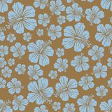 Light blue on brown random hibiscus flower pattern seamless repeat background. Two colour random hibiscus flower pattern seamless repeat background. Could be Royalty Free Stock Photos