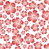 Red gradient on white random hibiscus flower seamless repeat pattern background. Two colour random hibiscus flower seamless repeat pattern background. Could be Royalty Free Stock Photos