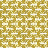 White on gold ant geometric pattern seamless repeat background. Two colour simple ant geometric pattern seamless repeat background. Could be used for background Royalty Free Stock Photography