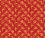 Gold on red simple octopus pattern seamless repeat background. Two colour simple octopus pattern seamless repeat background. Could be used for background pattern Royalty Free Stock Photos
