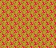 Red on gold simple octopus pattern seamless repeat background. Two colour simple octopus pattern seamless repeat background. Could be used for background pattern Royalty Free Stock Images