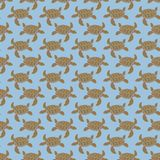 Brown on light blue turtle geometric pattern seamless repeat background Royalty Free Stock Photo