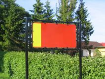 Two-coloured empty advert, ready to fill in Stock Image