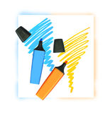 Two coloured markers Royalty Free Stock Photography