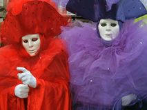 Two coloured masks in Venice. Two coloured masks during the last carnival in Venice (ITaly Stock Photography