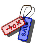 Two coloured sale tag. Blue and red sale tag 40 Stock Photos