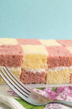Two coloured sponge cake. Two sweet coloured sponge cake Royalty Free Stock Images