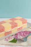Two coloured sponge cake. Two sweet coloured sponge cake Stock Photography