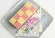 Two coloured sponge cake. Two sweet coloured sponge cake Stock Photo