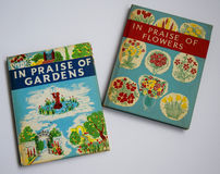 Two colourful books from the 1950`s. Two vintage books, containing details of various old English gardens. and the flowers found in them stock photos