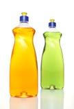 Two colourful bottles of dishwashing liquid. On white background stock images