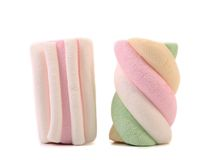 Two colourful marshmallow. Close up. Royalty Free Stock Photos
