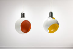 Two colourful modern pendant lights isolated, clipping path include Stock Photo