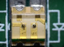 Two-colred SMD LED. Microscopy of a two colored SMD LED diode Royalty Free Stock Photo