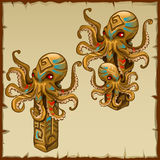 Two columns with octopus and ancient symbols. Vector image Royalty Free Stock Image