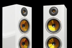 Two columns of luxury loudspeakers 3d render models. Two columns of white colored modern and luxury loudspeakers standing on the floor, 3d render models in high vector illustration