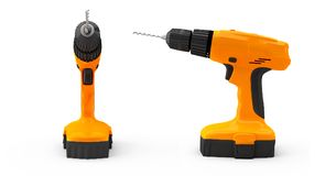 Two combi drill impact drill and screw driver 3d render no shado. W Royalty Free Stock Photography