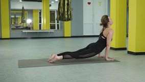 Two combined asanas, which are called the dog face up, the dog snouts down. The woman demonstrates two simple asanas, but complex in the right performance. The stock video footage