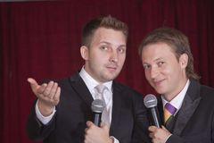 Two comedians on the stage Royalty Free Stock Photo