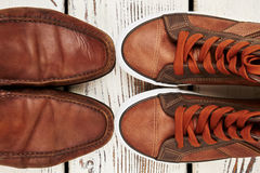 Two comfortable pairs of shoes. Practical leisure footwear stock images