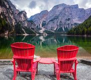 Two comfortable red deck chairs Royalty Free Stock Photography