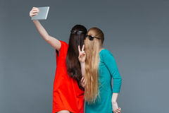 Two comical women with faces covered by hair taking selfie Royalty Free Stock Photos