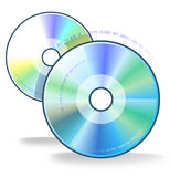 Two compact disks. Illustration with two objects - two CD or DVD disks. Main tools for record any digital information Royalty Free Stock Photo