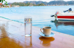 Two companions. A cup of hot coffee will charge with energy for a long time, Kekova, Turkey Stock Photography