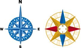 Two compass (vector). Two compass, wind rose in style modern and antique Royalty Free Stock Photography