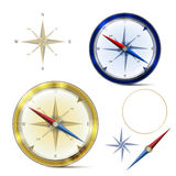 Two compasses and elements of compass Royalty Free Stock Photography
