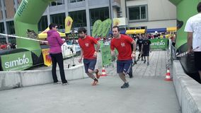 Two competitors starting to run stock footage