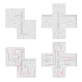 Two complicated labyrinths with red path of solution isolated on white Royalty Free Stock Photos