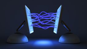 Two computer communicate with each other Royalty Free Stock Photo