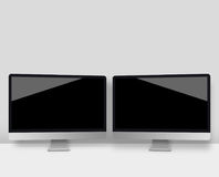 Two computer monitors with a black screen Stock Photos