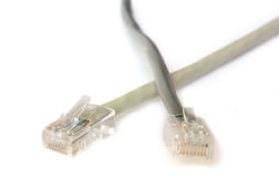 Two computer Network Cables. RJ45 plugs. Isolated on white Stock Photo