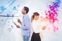 Two computer science students, binary interface royalty free stock images
